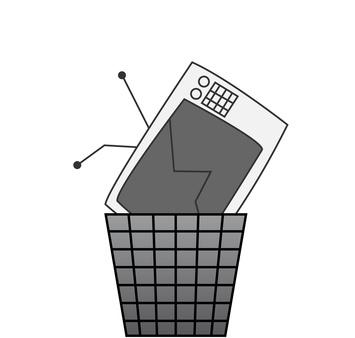 Fernseher Kaputt im Mülleimer
